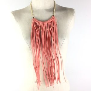 necklace earring set Coral pink waterfall fringe